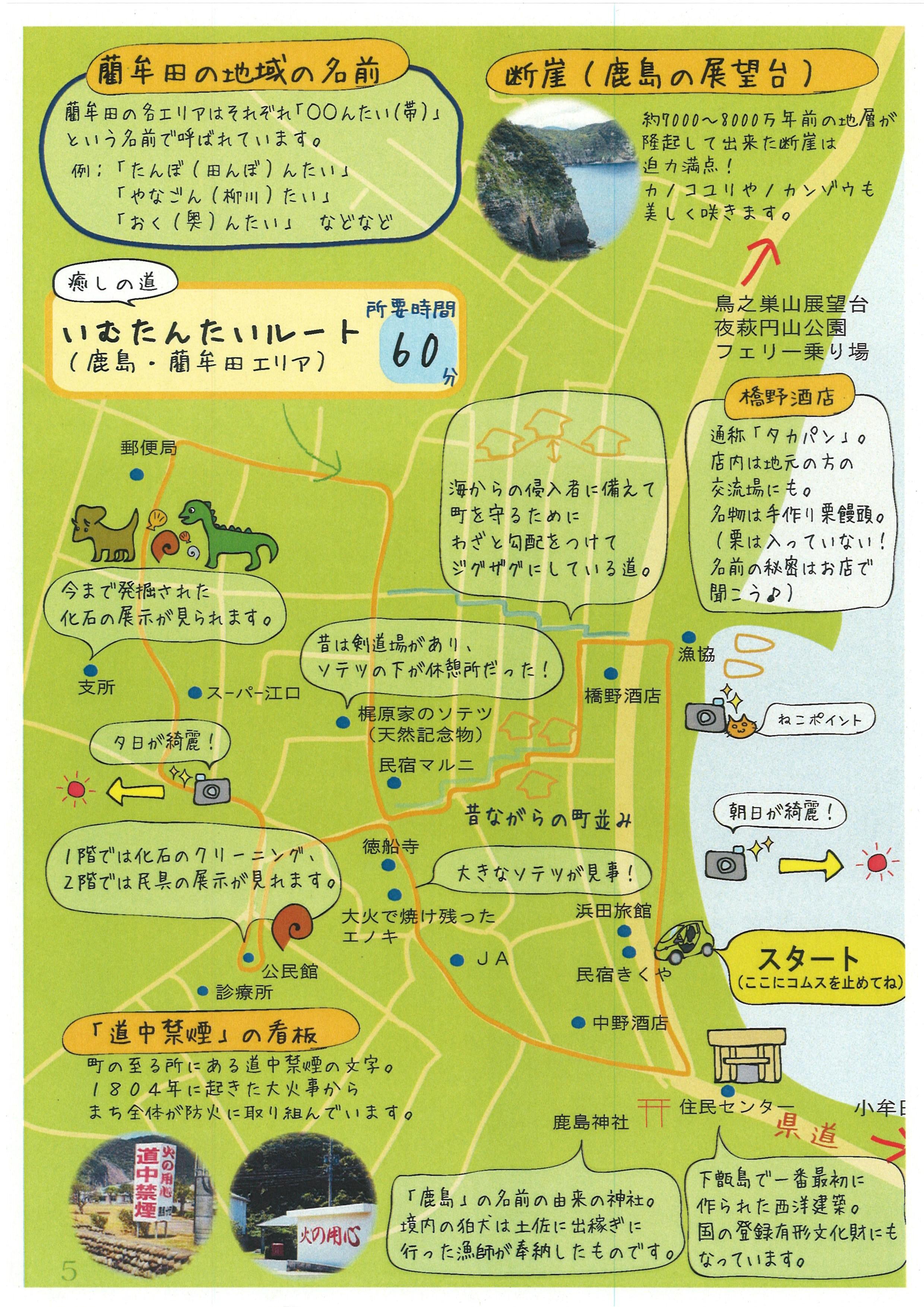 手作りマップ(下甑町鹿島地区藺牟田エリア)
