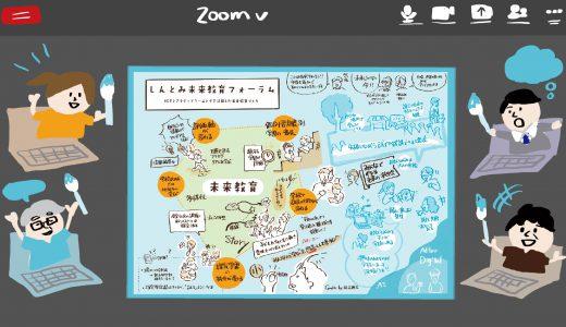 【オンライングラフィックレコーディング】全国の参加者で「一枚絵」を描いた、しんとみ未来教育フォーラム